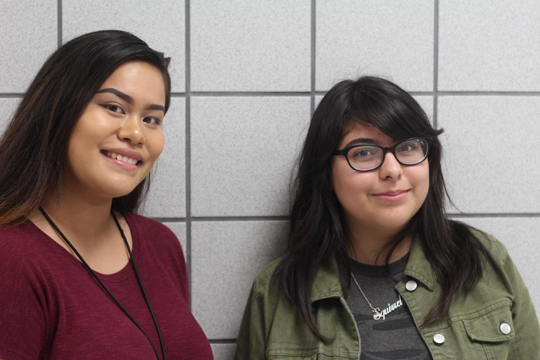 Debate captains senior April Peralta and junior Kimberly Lopez.