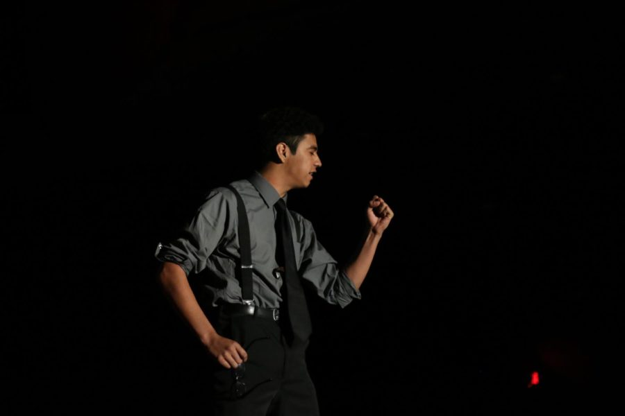 Alumnus Geovani Morin preforms in the play 12 Angry Men December 2016 in the Auditorium.