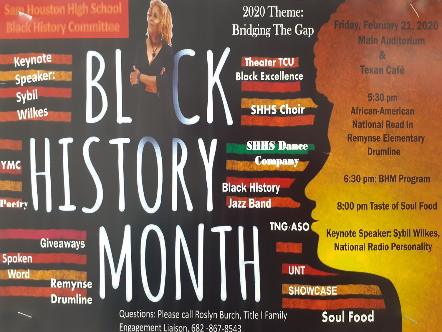 """This year's Black History Month program theme is Eracism """"Bridging the Gap."""" The evening program will occur at 6:30 p.m. Feb. 21 in the Auditorium and will feature students, staff, and community participants performing a showcase to promote cultural awareness. Admission is free and there will be dinner provided after the program."""