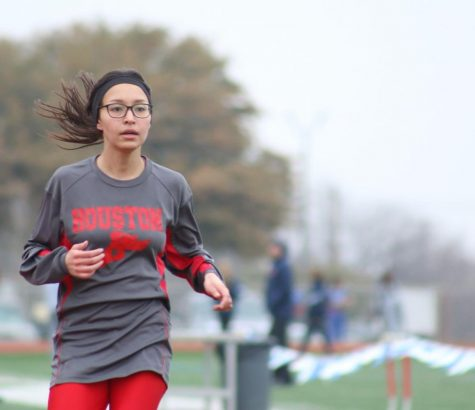 Then freshman Perla Flores finishes the 3200 at the 2019 Jerry B. Griffin Invitational track meet on Wilemon Field.